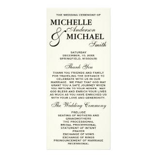 Simple Elegant Wedding Program Custom Rack Cards