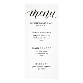 Simple Modern Typography on Watercolor Paper Menu Customised Rack Card