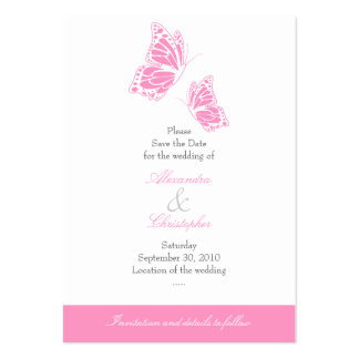 Simple Pink Butterfly Save The Date Wedding Mini Pack Of Chubby Business Cards