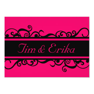 Simple scroll black and pink wedding invitation