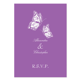 Simple Violet Butterfly RSVP Note Mini Pack Of Chubby Business Cards