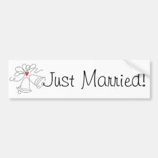 Simple wedding bells custom just married sticker bumper sticker