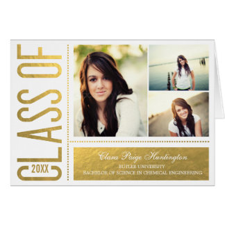 Simply Cool Graduation Thank You Card  Gold