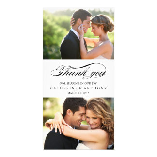 Simply Elegant Wedding Thank You - White Photo Card