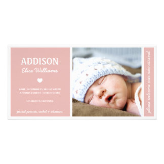 SIMPLY PURE | BABY GIRL BIRTH ANNOUNCEMENT PERSONALIZED PHOTO CARD