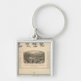 Simpson, Hall, Miller and Traveler's Company Silver-Colored Square Key Ring