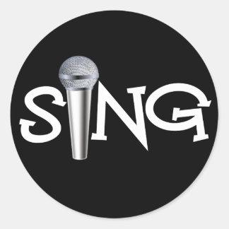 Sing with Microphone Round Sticker