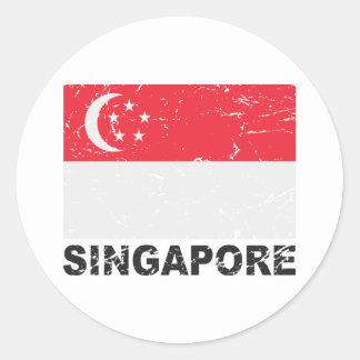 Singapore Vintage Flag Round Sticker