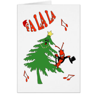 Singing Christmas Tree with Crawfish / Lobster Greeting Card