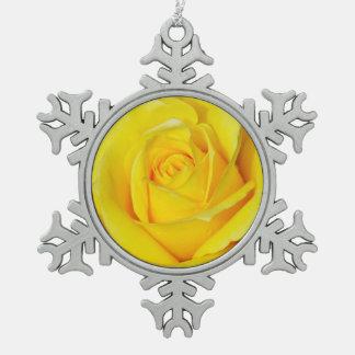 Single yellow rose pewter snowflake ornament