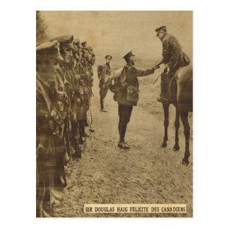 Sir Douglas Haig congratulating Canadian troops Postcard