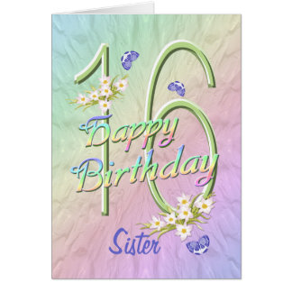 Sister 16th Birthday Butterfly Garden Card