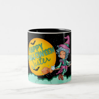 sister halloween mug with cute little witch