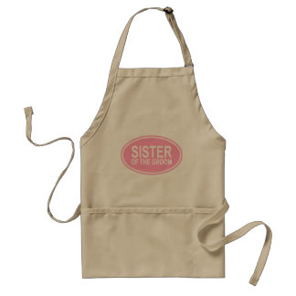 Sister of the Groom Wedding Oval Pink Standard Apron