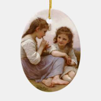Sisters and Flute Music by Bouguereau Ceramic Oval Decoration