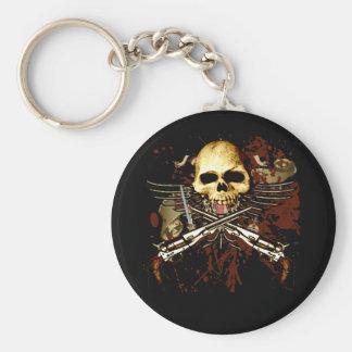 Sixgun Skull Basic Round Button Key Ring