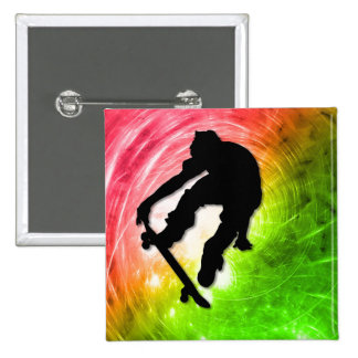 Skateboarding in a Psychedelic Cyclone 15 Cm Square Badge