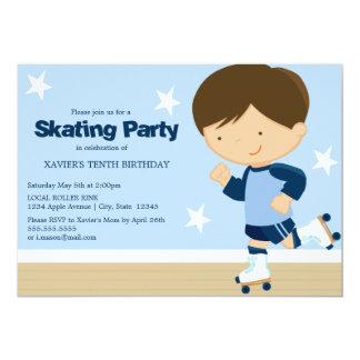 Skating Party | Brunette boy 13 Cm X 18 Cm Invitation Card