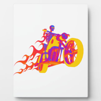 Skeleton Riding a Motorcycle Photo Plaque