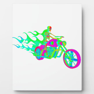 Skeleton Riding a Motorcycle Photo Plaques