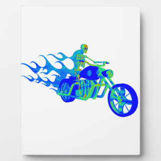 Skeleton Riding a Motorcycle Plaque