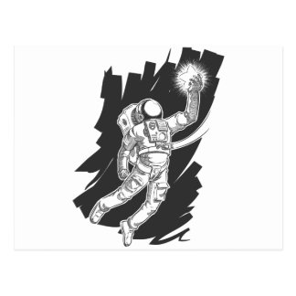 Sketch of Astronaut or Spaceman Grabbing a Star Postcard