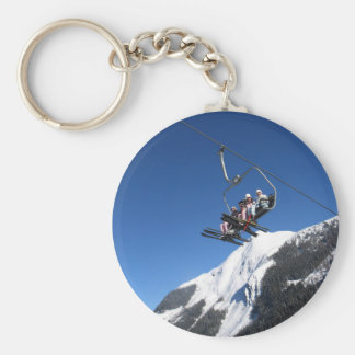 Ski Lift Basic Round Button Key Ring