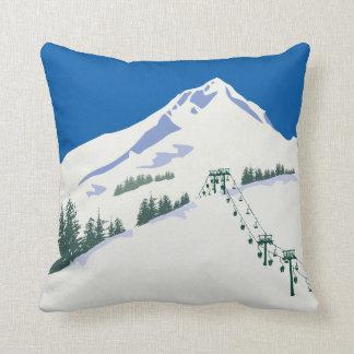 Ski Winter Scene Pillow Cushion