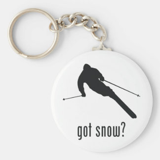 Skiing Basic Round Button Key Ring