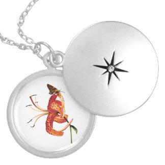 Skipper Orange Tiger Lily Round Locket Necklace