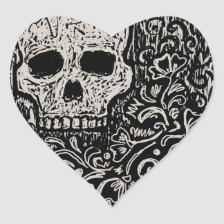 Skull and Flora Etching Heart Sticker