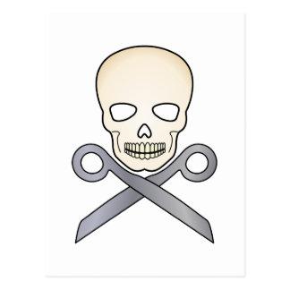 Skull and X-Scissors Postcard