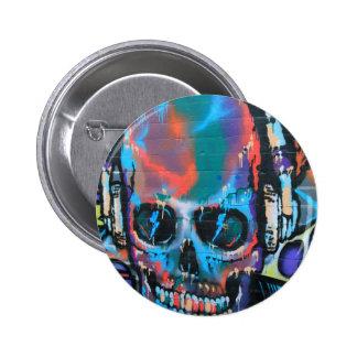 Skull, blue music Graffiti street art, urban goth 6 Cm Round Badge