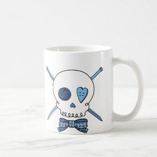 Skull & Knitting Needles (Blue) Basic White Mug