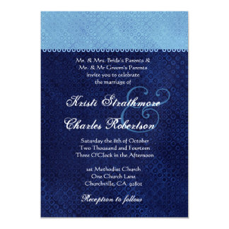 Sky Blue and Midnight Damask Wedding Invitation