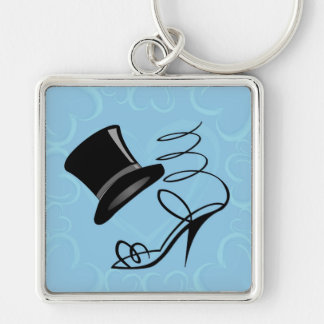 Sky Blue Hearts Top Hat and High Heels keychain
