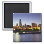 Skyline of downtown Chicago at dusk Square Magnet
