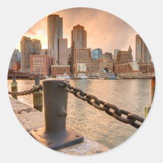Skyline of Financial District of Boston Round Sticker