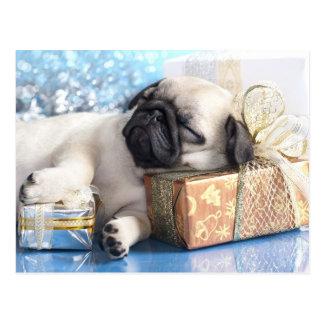 Sleeping  puppy pug and Christmas gifts Postcard