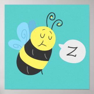 Sleepy Cartoon Bumblebee Poster