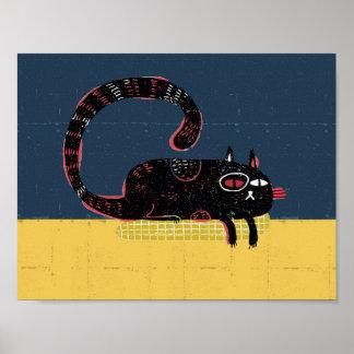 sleepy cat on pillow poster