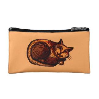 Sleepy Ginger Cat Orange Cosmetic Bag