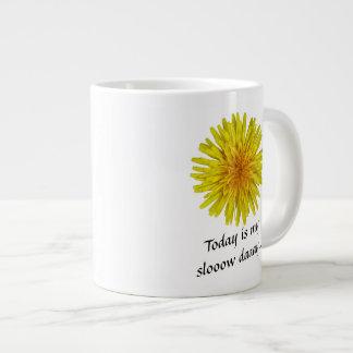 Slow Day Yellow Dandelion Flower any Text Jumbo Mug
