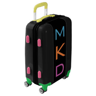SMALL Black Colorful Monogrammed Carry On Luggage