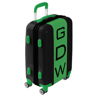 SMALL Black + Green Monogrammed Carry On Luggage