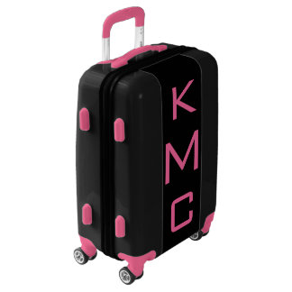 SMALL Black + Pink Personalized Monogram Carry On Luggage