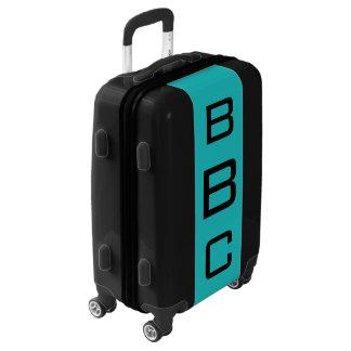 SMALL Black + Turquoise Monogram Carry On Luggage