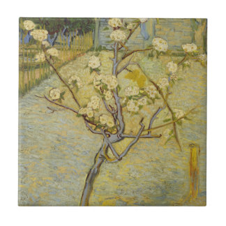 Small pear tree in blossom Tile