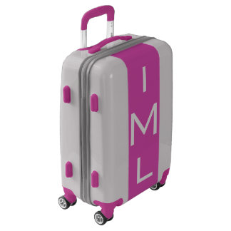 SMALL Silver + Purple Monogrammed Carry On Luggage