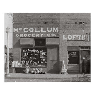 Small Town Grocery Store, 1935. Vintage Photo Poster